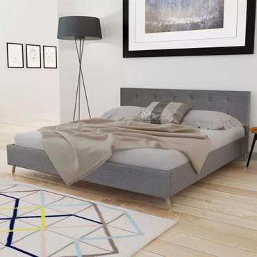 Qualitativ Hochwertiges Bett 200 x 160 cm Holz mit Stoffbezug Hellgrau  – Bild 3