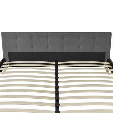 Qualitativ Hochwertiges Bett 200 x 160 cm Holz mit Stoffbezug Hellgrau  – Bild 6