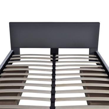Bett 140×200 cm Kunstleder mit 2 Schubladen Grau  – Bild 7
