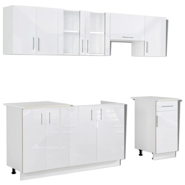 7-tlg. Küchenzeile Set mit Dunstabzugshaube Hochglanz Weiß  – Bild 3