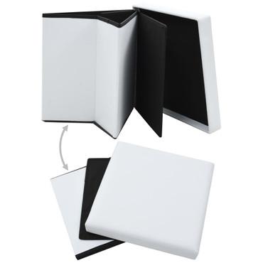 Falthocker Kunstleder 38×38×38 cm Weiß – Bild 3