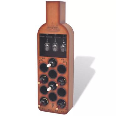 Weinregal Flaschenform für 12 Flaschen Braun – Bild 1