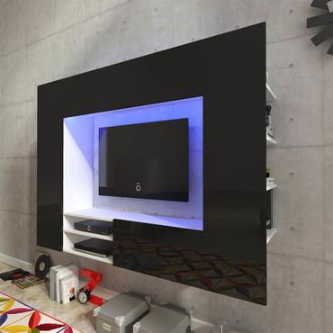 Hochglanz Mediawand Wohnwand LED TV-Wand schwarz 169,2 cm – Bild 1