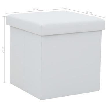 Falthocker 2 Stk. Kunstleder 38×38×38 cm Weiß – Bild 9