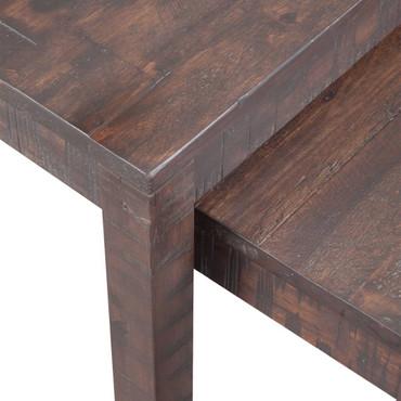 3-tlg. Tisch-Set Akazienholz Massiv Stapelbar Tabakfarben – Bild 2