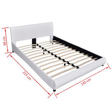 Bett 140×200 cm Kunstleder Weiß  – Bild 7