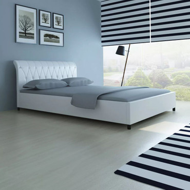 Bett 140×200 cm Kunstleder Weiß  – Bild 3
