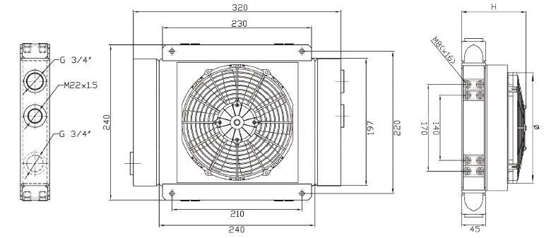 Hydraulikölkühler 12V 24V GR50S Diagramm