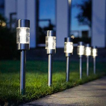 Solar LED Garten-Wegeleuchten | 4 Stk. | Edelstahl  – Bild 5