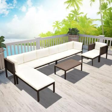 Garten-Lounge-Set 24-tlg. Poly Rattan Braun  – Bild 1