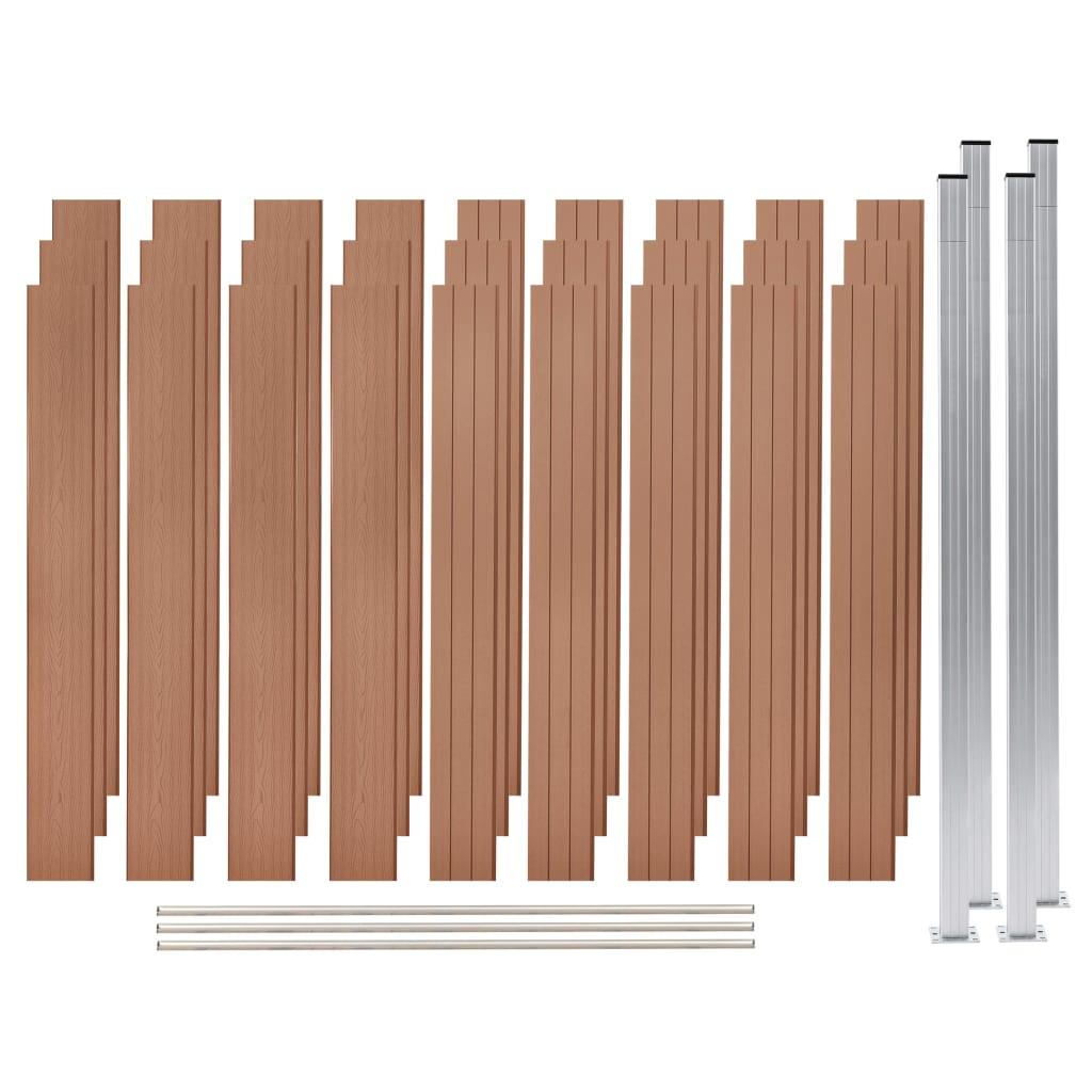 Vidaxl Wpc Zaun Set 3 Quadrate 526x187 Cm Braun Gitoparts
