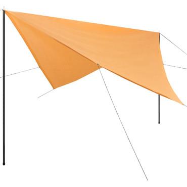 Sonnensegel mit Gestell HDPE Quadratisch 4 x 4 m Beige – Bild 1