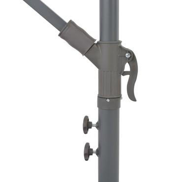 Ampelschirm mit LED-Leuchten und Stahlmast 300 cm Taupe – Bild 4