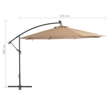 Ampelschirm mit LED-Leuchten und Metall-Mast 350 cm Taupe – Bild 8