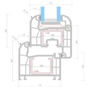 2 Fach Verglast Drehkippfenster PVC rechtsseitig Griff 1200x600mm – Bild 8