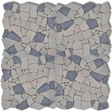 Stein Mosaik Fliesen Marmor Bruchmosaik Schwarzweiß 0,9 m2 – Bild 3