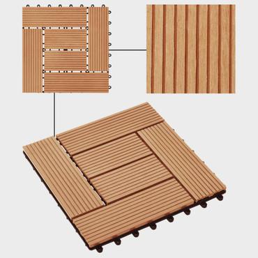 Terrassenfliesen 11 Stück WPC 30 x 30 cm 1 qm Teakholzfarbe – Bild 3