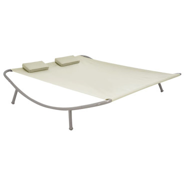 Outdoor Doppel-Loungebett Creme 200 x 173 x 45 cm Stahl – Bild 1