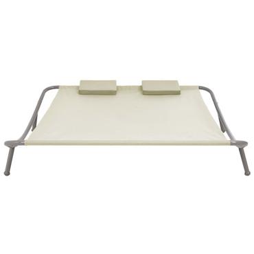 Outdoor Doppel-Loungebett Creme 200 x 173 x 45 cm Stahl – Bild 2