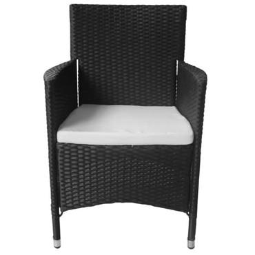 Rattan Stühle 2 Stück schwarz – Bild 2