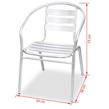 Bistro-Set 5-tlg. Rechteckiger Tisch Stapelstühle Aluminium – Bild 9