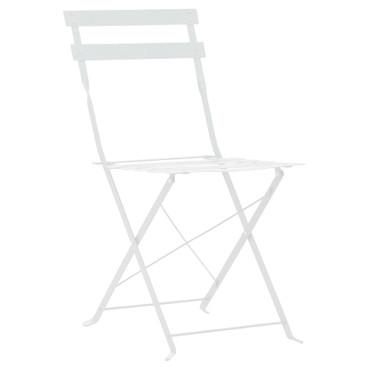 3-tlg. Garten-Bistroset Weiß Stahl – Bild 5