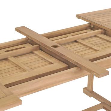 9-tlg. Garten-Essgruppe 180-280 x 100 x 75 cm Teak Massivholz – Bild 8