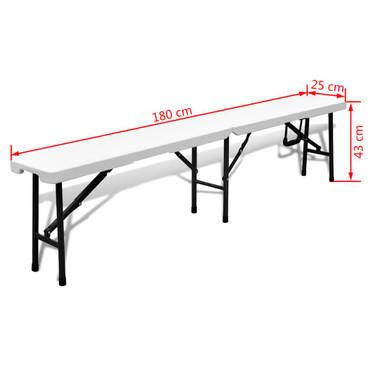 Klappbare Gartenbänke 2 Stk. 180 cm HDPE Weiß – Bild 7