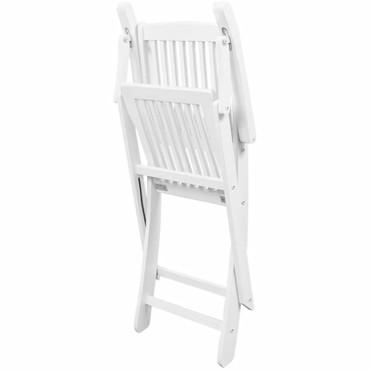 Klappbarer Essstuhl 2 Stk. Weiß Akazienholz  – Bild 5