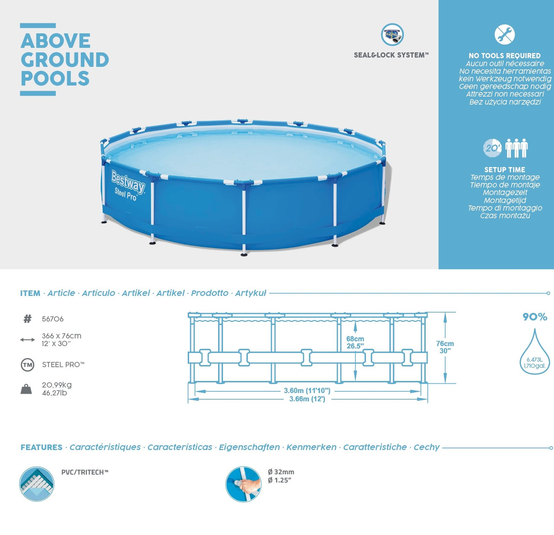Bestway Above Ground Pools Steel pro