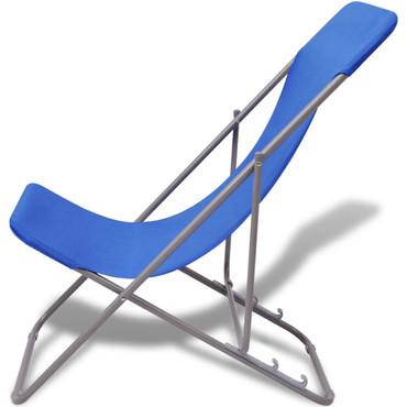 Klappbarer Strandstuhl 2 stk blau – Bild 2
