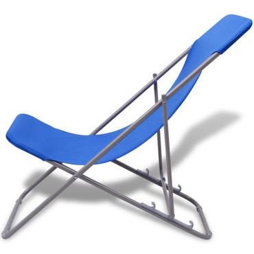 Klappbarer Strandstuhl 2 stk blau – Bild 3
