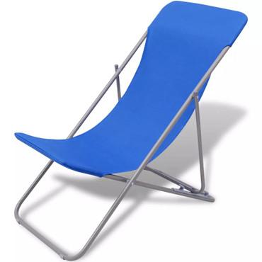Klappbarer Strandstuhl 2 stk blau – Bild 5