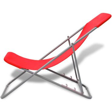 Klappbarer Strandstuhl 2 stk rot – Bild 4