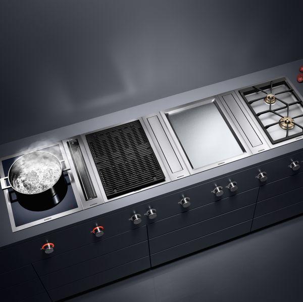 Vario Kochgeräte-Serie400 mit Induktions-Wok Elektro-Grill Teppan Yaki Dampfgarer Muldenlüftung