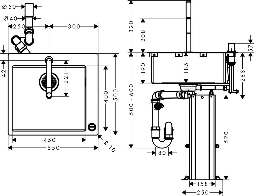 Hansgrohe C71-F450-06 Spülencombi 450, edelstahl 43201800 – Bild 4