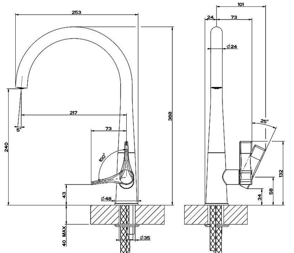 GESSI Proton Einhandmischer Edelstahl-Design + 5 Jahre Garantie – Bild 2