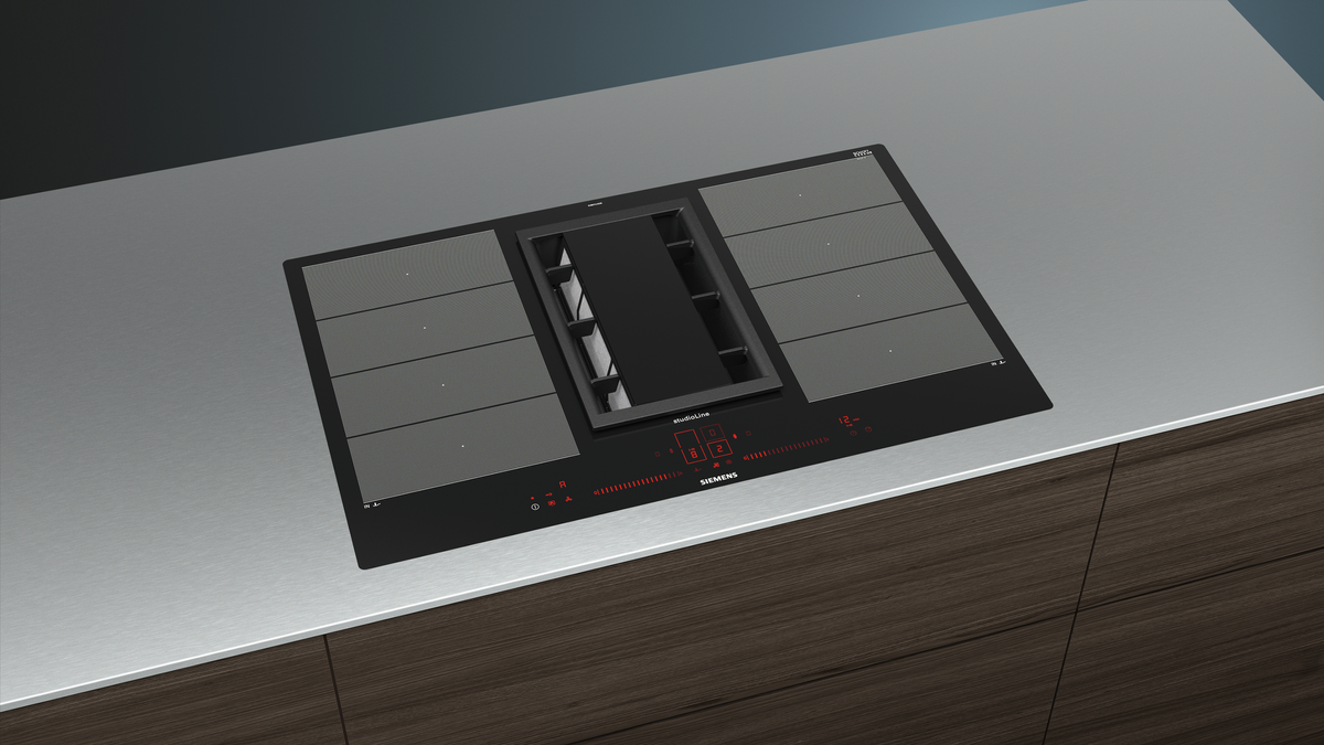 EX807LX36E Kochstelle mit integriertem Dunstabzug 80 cm Induktions-Kochfeld autark, Glaskeramik Deep Black Edition studioLine – Bild 5