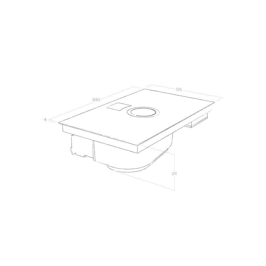 Elica NikolaTesla Switch PRF0146212 schwarz, Abluftbetrieb, Kochfeld mit integriertem Dunstabzug  – Bild 5