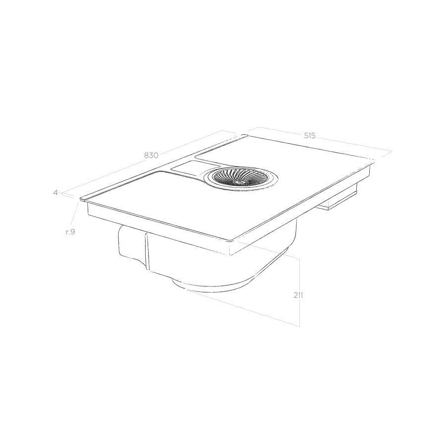 Elica NikolaTesla One HP PRF0120975 Abluftbetrieb, Kochfeld mit integriertem Dunstabzug  – Bild 4