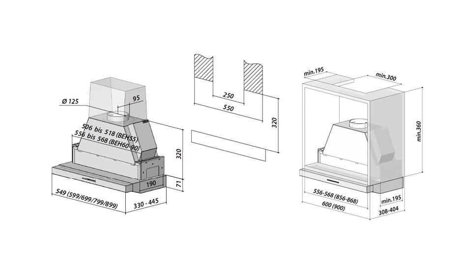 Berbel Firstline Touch BEH90FLT 1070056 Einbauhaube für Hängeschränke, mit 5 Jahren Garantie – Bild 4