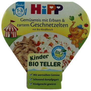 Hipp Kinder-Bioteller Gemüsereis + Geschnetzeltem 250g – Bild 2