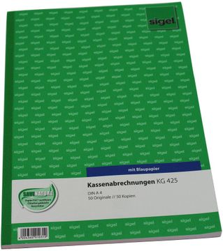 Sigel Kassenabrechnung A4 mit Blaupapier 2x50 Blatt