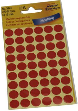Avery Etikett 12mm Markierpunkte rot 270 Stück