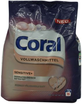 Coral Sensitive und Vollwaschmittel Pulver 16 Wäschen