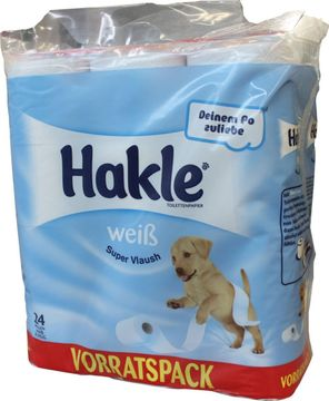 Hakle Super Vlausch weiß Toilettenpapier 3-lagig 24 x 150 Blatt – Bild 1