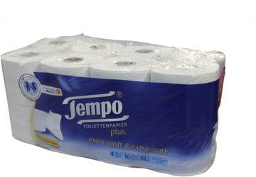 Tempo Plus Toilettenpapier Weiß 4-lagig 16 x 120 Blatt – Bild 1