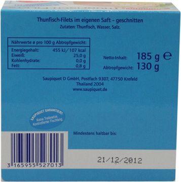 Saupiquet Thunfisch Filet ohne Öl 130g – Bild 3