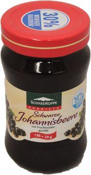 Schneekoppe Diät Fruchtaufstrich Konfitüre Schwarze Johanisbeere 330g – Bild 1