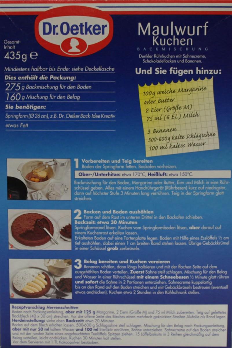 Dr Oetker Maulwurf Kuchen Backmischung 435g Feinkost Lebensmittel